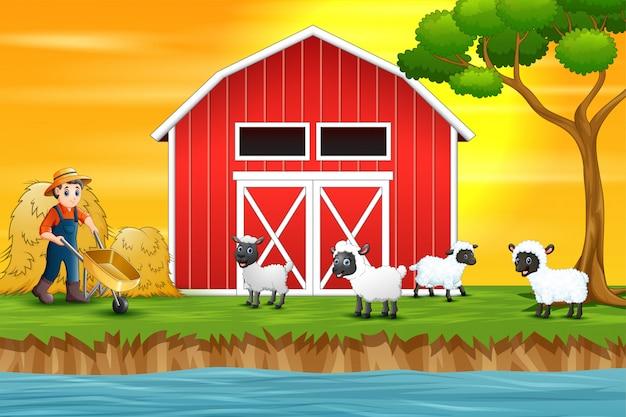 Мультяшный счастливый фермер и овцы на ферме