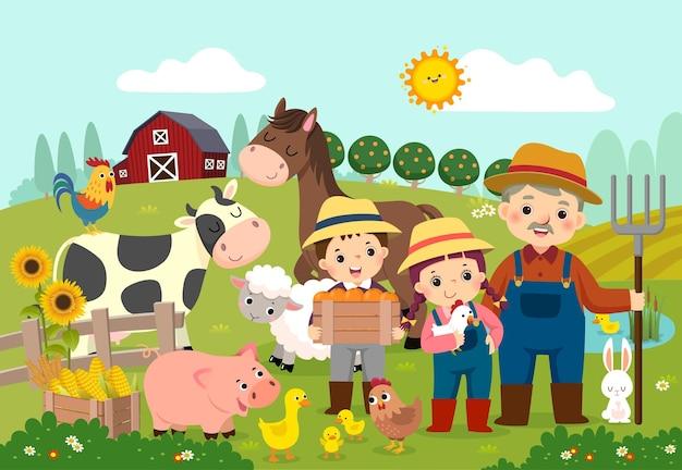 Cartoon of happy farmer and kids with farm animals on the farm