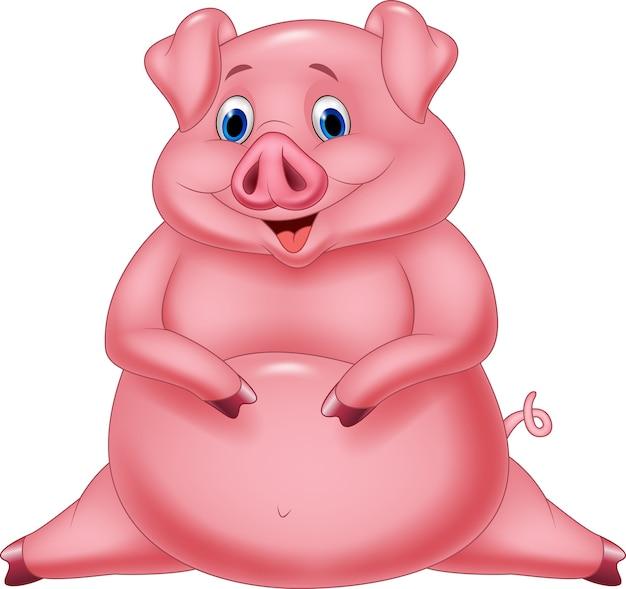 Cartoon happy fat pig