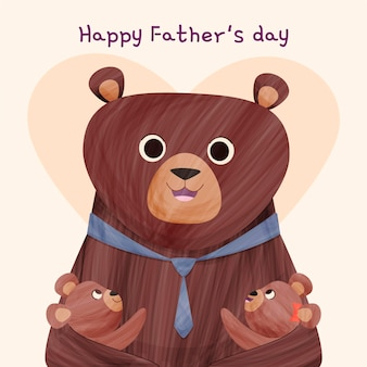 Cartoon happy father's day illustration with bear