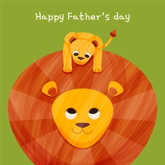 Cartoon happy father's day illustration with lion and cub