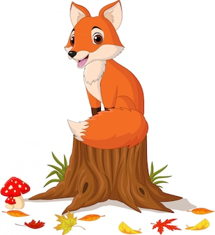 Cartoon happy fox sitting on tree stump