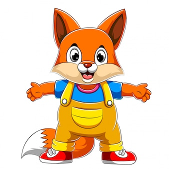Cartoon happy fox with waving hand