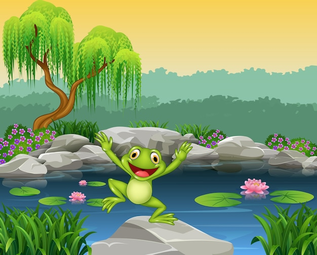 Cartoon happy frog jumping on the rock
