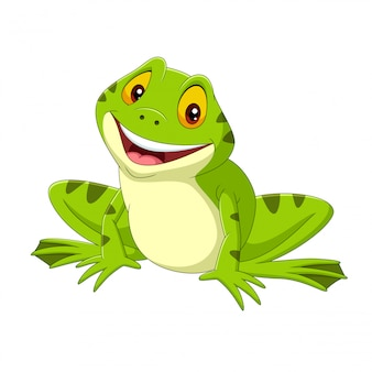 Cartoon happy frog on white