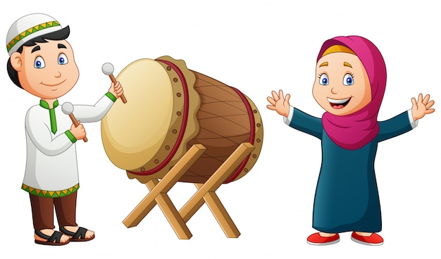 Cartoon happy girl and boy hitting mosque drum.   illustration