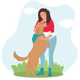 Cartoon happy girl hugging her dog. walking outdoors
