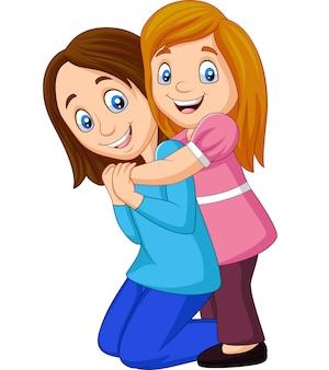 Cartoon happy girl hugging her mother