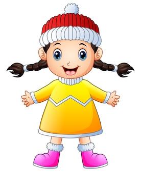 Мультяшная счастливая девушка в зимней одежде