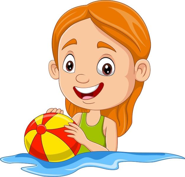 Мультяшная счастливая девушка играет в пляжный мяч