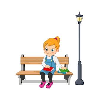 Мультфильм счастливая девушка сидит на скамейке с книгами
