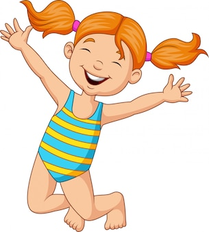 Cartoon happy girl in a swimsuit