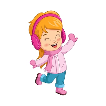 冬の服を着て漫画の幸せな女の子