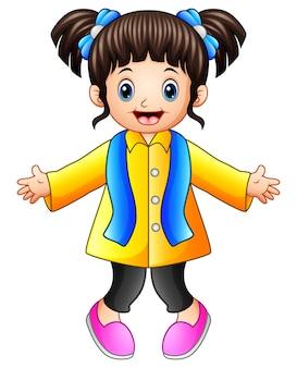Cartoon happy girl in winter clothes