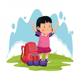 Cartoon happy girl with camping backpack and sleeping bag