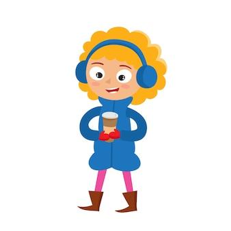 紙コップのコーヒー、白で隔離の10代、コーヒーの時間と漫画の幸せな女の子