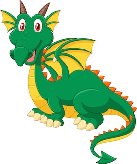 Cartoon happy green dragon