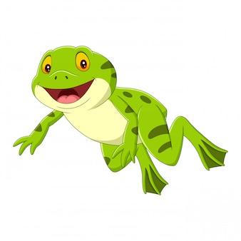 Cartoon happy green frog jumping