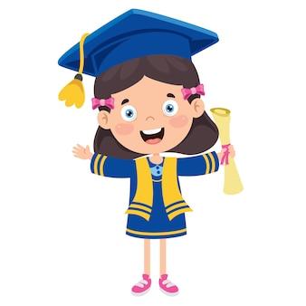 卒業衣装で漫画幸せな子供