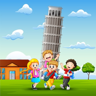 Cartoon happy kids in front of pisa tower background