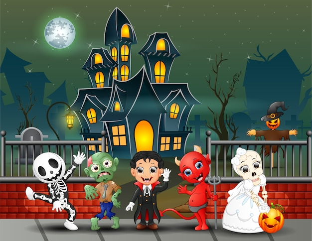 Cartoon happy kids on the halloween day