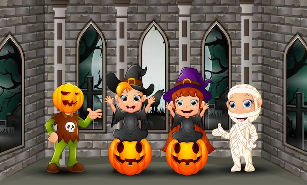 Cartoon happy kids on the halloween day