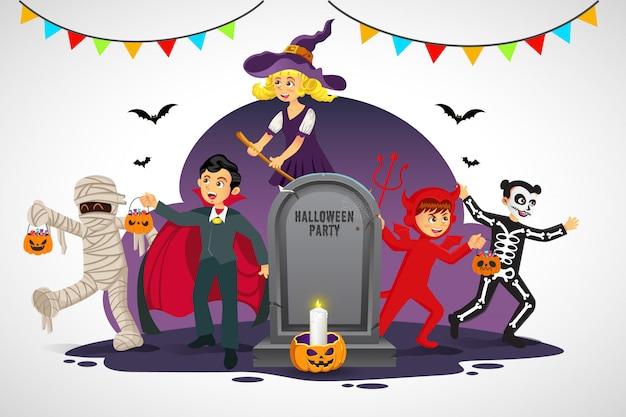 白い背景の上の古い墓石とハロウィーンの衣装で漫画幸せな子供たち。幸せなハロウィーンカード、チラシ、バナー、ポスターのイラスト