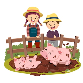 Cartoon of happy kids looking at pig and piglet playing in mud puddle
