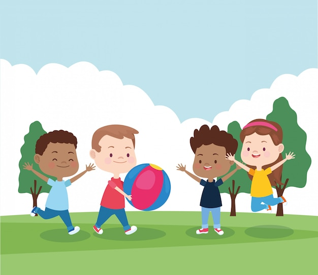 Cartoon happy kids playing in the park