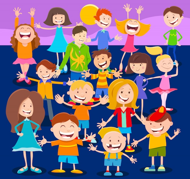 Cartoon happy kids or teen characters large group