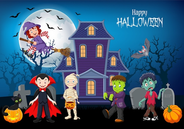 Cartoon happy kids with halloween background