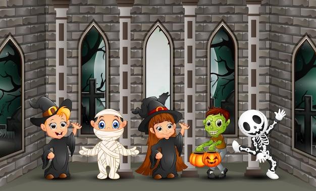 Cartoon happy kids with halloween day