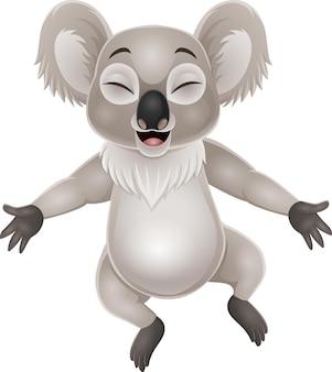 Cartoon happy koala on white