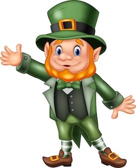 Cartoon happy leprechaun waving hand