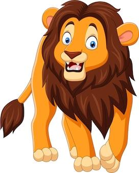 Cartoon happy lion isolated on white