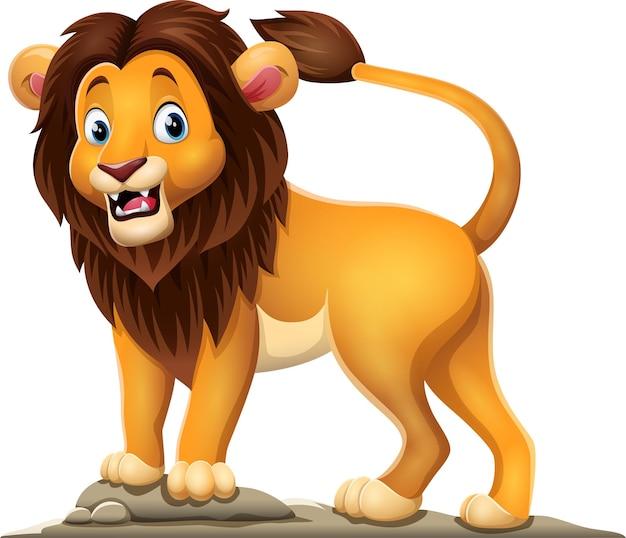 白い背景の上の漫画幸せなライオン
