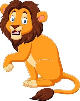 Cartoon happy lion on white