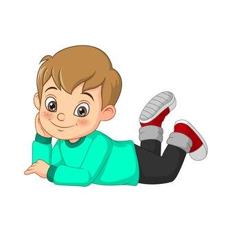 Мультфильм счастливый маленький мальчик, лежа на полу