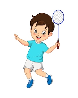 Cartoon happy little boy playing badminton
