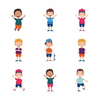 Cartoon happy little boys icon set