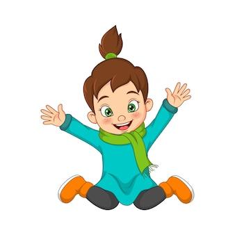 따뜻한 스웨터에 만화 행복 한 어린 소녀