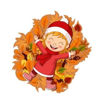 Cartoon happy little girl lying on autumn leaves