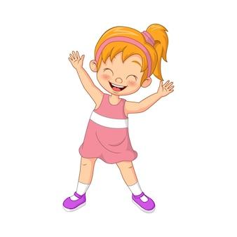 Мультфильм счастливая маленькая девочка стоя