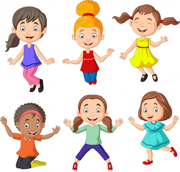 Cartoon happy little girls with different pose