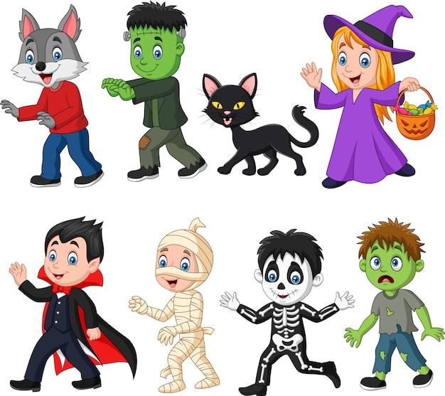 Cartoon happy little kids with halloween costume