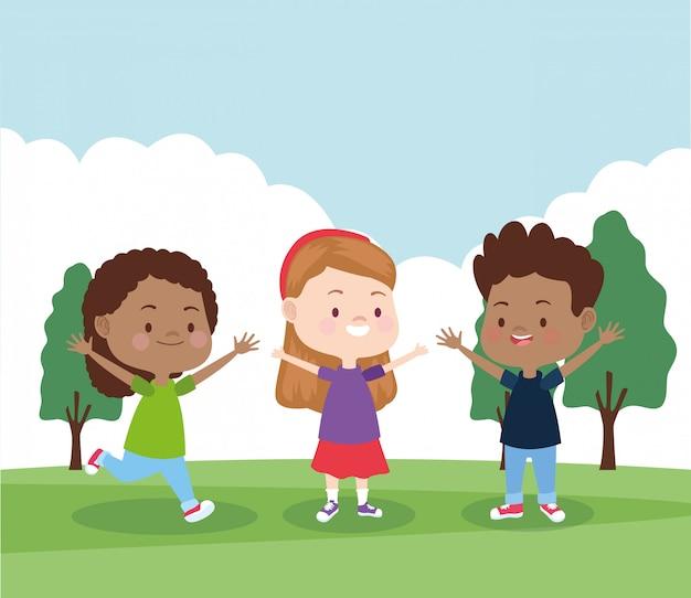 Cartoon happy little kids