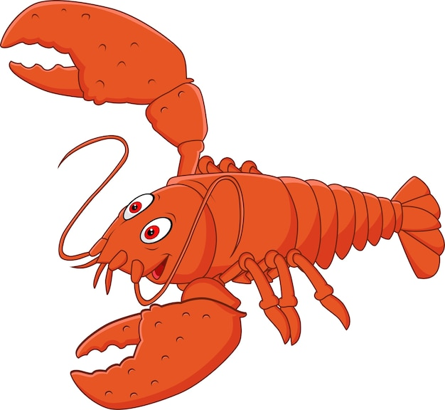 Cartoon happy lobster posing isolated on white background