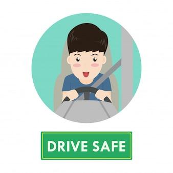Cartoon happy man drive car safely concept