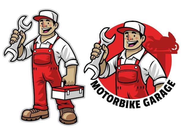 Cartoon of happy mechanic mascot