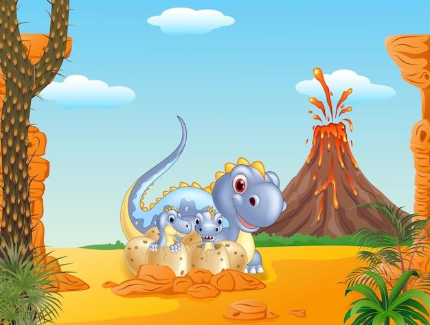 Cartoon happy mom and baby dinosaurs
